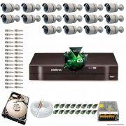 Kit Cftv 16 Câmeras 2.0MP 720p Dvr 16 Canais MHDX Intelbras 5 em 1 + HD 250GB