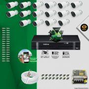 Kit Cftv 16 Câmeras Bullet Ir Cut 1500L Dvr 16 Canais Intelbras MHDX + ACESSÓRIOS