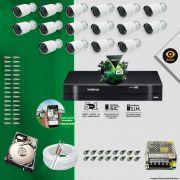 Kit Cftv 16 Câmeras Bullet Ir Cut 1500L Dvr 16 Canais Intelbras MHDX + HD 320 GB