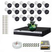Kit Cftv 16 Câmeras VHD 1220B 1080P 3,6mm DVR Intelbras MHDX 3016 + ACESSORIOS
