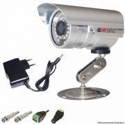 KIT CFTV 1 Câmera CCD Infravermelho 1200 TVL 3,6MM + Conectores e Fonte