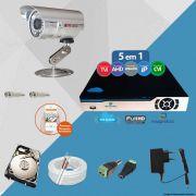 Kit Cftv 1 Câmera CCD Infravermelho 3,6MM 1200L Dvr 4 Canais Newprotec + HD 500GB