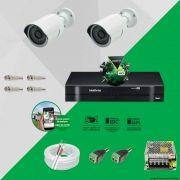 Kit Cftv 2 AHD-M Câmeras 720p Dvr 4 Canais MHDX Intelbras 5 em 1 + ACESSORIOS