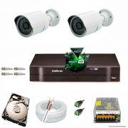 Kit Cftv 2 AHD-M Câmeras 720p Dvr 4 Canais MHDX Intelbras 5 em 1 + HD 1TB