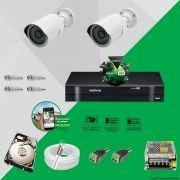 Kit Cftv 2 AHD-M Câmeras 720p Dvr 4 Canais MHDX Intelbras 5 em 1 + HD 320GB