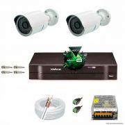 Kit Cftv 2 Câmeras 1.3MP 720p Dvr 4 Canais MHDX Intelbras 5 em 1 + ACESSORIOS