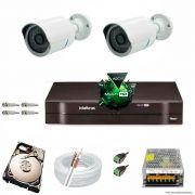 Kit Cftv 2 Câmeras 1.3MP 720p Dvr 4 Canais MHDX Intelbras 5 em 1 + HD 250GB