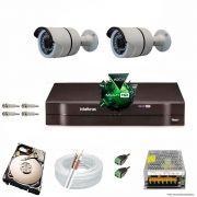 Kit Cftv 2 Câmeras 2.0MP 720p Dvr 4 Canais MHDX Intelbras 5 em 1 + HD 250GB