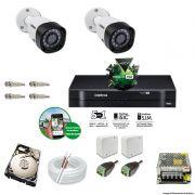 Kit Cftv 2 Câmeras 720p IR BULLET 3130B Dvr 4 Canais Intelbras 5 em 1 + HD 1TB