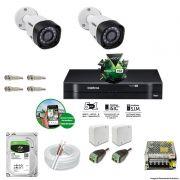 Kit Cftv 2 Câmeras 720p IR BULLET 3130B Dvr 4 Canais Intelbras 5 em 1 + HD 2TB BARRACUDA