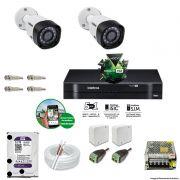 Kit Cftv 2 Câmeras 720p IR BULLET 3130B Dvr 4 Canais Intelbras 5 em 1 + HD 2TB WDP