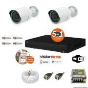 Kit Cftv 2 Câmeras AHD-M 720P 3,6MM Dvr 4 Canais Visionbras XVR 720p + ACESSORIOS