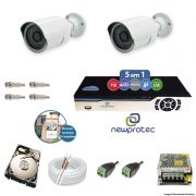 Kit Cftv 2 Câmeras AHD-M 720p Dvr 4 Canais Newprotec 5 em 1 Full HD + HD 2 TB