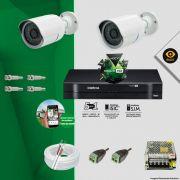 Kit Cftv 2 Câmeras Bullet Ir Cut 1500L Dvr 4 Canais Intelbras MHDX + ACESSÓRIOS