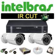 Kit Cftv 2 Câmeras Bullet Ir Cut 1500L Dvr 4 Canais Intelbras MHDX + HD 250 GB