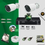 Kit Cftv 2 Câmeras Bullet Ir Cut 1500L Dvr 4 Canais Intelbras MHDX + HD 320 GB