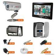 KIT CFTV 2 Câmeras CCD 1200 TVL + Monitor 7
