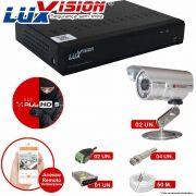 Kit Cftv 2 Câmeras CCD Infravermelho 3,6MM 1200L Dvr 4 Canais Luxvision + ACESSORIOS