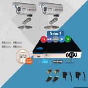 Kit Cftv 2 Câmeras CCD Infravermelho 3,6MM 1200L Dvr 4 Canais Newprotec + ACESSORIOS