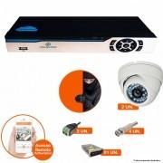 Kit Cftv 2 Câmeras Dome CCD 1200L INFRA Dvr 4 Canais Newprotec 5 em 1