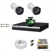 Kit Cftv 2 Câmeras VHD 1220B 1080P 3,6mm DVR Intelbras MHDX 3004 + ACESSORIOS