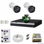 Kit Cftv 2 Câmeras VHD 1220B 1080P 3,6mm DVR Intelbras MHDX 3004 + HD 1TB WDP