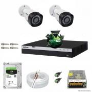 Kit Cftv 2 Câmeras VHD 1220B 1080P 3,6mm DVR Intelbras MHDX 3004 + HD 2TB BARRACUDA