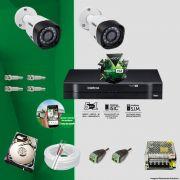 Kit Cftv 2 Câmeras VHD 3120B 720P 2,6mm DVR Intelbras MHDX 1004 + HD 1TB