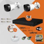 Kit Cftv 2 Câmeras Visionbras Bullet 1MP 720p 2,8MM Dvr 4 Canais Visionbras XVR 1080n + ACESSORIOS