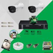 Kit Cftv 2 Câmeras VM 1120B Bullet G4 720p Dvr 4 Canais Intelbras MHDX + HD 1TB