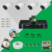 Kit Cftv 4 AHD-M Câmeras 720p Dvr 4 Canais MHDX Intelbras 5 em 1 + HD 500GB