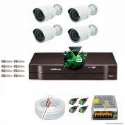 Kit Cftv 4 AHD-M Câmeras 720p Dvr 8 Canais MHDX Intelbras 5 em 1 + ACESSORIOS