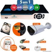 Kit Cftv 4 Câmeras 1080p IR BULLET NP 1002 Dvr 8 Canais Newprotec 5 em 1 + HD 250GB