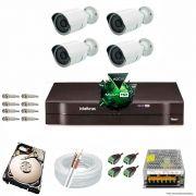 Kit Cftv 4 Câmeras 1.3MP 720p Dvr 4 Canais MHDX Intelbras 5 em 1 + HD 250GB