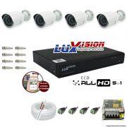 Kit Cftv 4 Câmeras AHD Bullet 720p Dvr 8 Canais Luxvision 5 em 1 + ACESSORIOS
