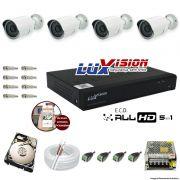 Kit Cftv 4 Câmeras AHD Bullet 720p Dvr 8 Canais Luxvision 5 em 1 + HD 2TB