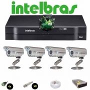 KIT CFTV 4 Câmeras CCD Infravermelho 1200 TVL  DVR 4 Canais Intelbras MultiHD + Acessórios