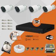 Kit Cftv 4 Câmeras IR CUT 3,6MM 1500L Dvr 8 Canais Visionbras XVR 720p + HD 500GB