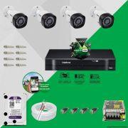 Kit Cftv 4 Câmeras VHD 1010B Bullet 720p Dvr 8 Canais Intelbras MHDX + HD WDP 1TB