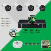 Kit Cftv 4 Câmeras VHD 1120B Bullet 720p Dvr 4 Canais Intelbras MHDX + ACESSÓRIOS