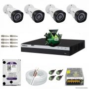 Kit Cftv 4 Câmeras VHD 1220B 1080P 3,6mm DVR Intelbras MHDX 3008 + HD 3TB WDP