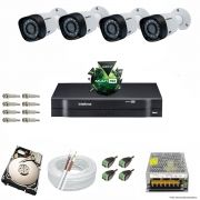 Kit Cftv 4 Câmeras VHD 3120B 720P 2,6mm DVR Intelbras MHDX 1004 + HD 2TB