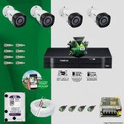 Kit Cftv 4 Câmeras VHD 3120B 720P 2,6mm DVR Intelbras MHDX 1008 + HD 1TB WDP