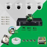 Kit Cftv 4 Câmeras VHD 3120D 720P 2,8mm DVR Intelbras MHDX 1008 + HD 1TB