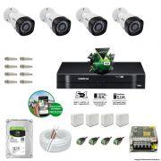 Kit Cftv 4 Câmeras VHD 3130B 720P 3,6mm DVR Intelbras MHDX 1004 + HD 1TB BARRACUDA