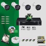 KIT CFTV 4 CÂMERAS VHD 3130B 720P 3,6MM DVR INTELBRAS MHDX 1004 + HD 1TB SEAGATE