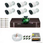 Kit Cftv 6 AHD-M Câmeras 720p Dvr 8 Canais MHDX Intelbras 5 em 1 + ACESSORIOS