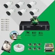 Kit Cftv 6 AHD-M Câmeras 720p Dvr 8 Canais MHDX Intelbras 5 em 1 + HD 2TB