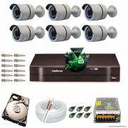 Kit Cftv 6 Câmeras 2.0MP 720p Dvr 8 Canais MHDX Intelbras 5 em 1 + HD 250GB