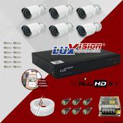 Kit Cftv 6 Câmeras AHD Bullet 720p Dvr 8 Canais Luxvision 5 em 1 + ACESSORIOS